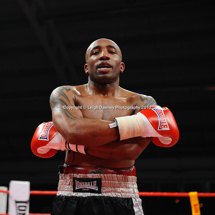Neil L Perkins defeats Dee Mitchell (pictured) in 4x3 Light Middleweight contest on the 30th November 2012 at Aintree Equestrian Centre, Aintree, Liverpool. Frank Maloney Promotions. Pictures by Leigh Dawney. ©leighdawneyphotography 2012.