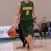 2nd year guard Samuel Hillis (2) of the Regina Cougars in action during the home game on December  3 at Centre for Kinesiology, Health and Sport. Credit: Matt Johnson/Arthur Images