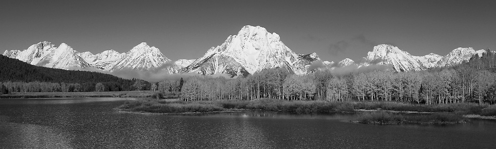 Grand Tetons - Oxbow Bend, WY - Panoramic - Black & White