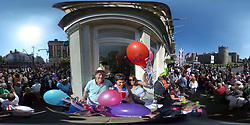 A 360 degree view of royal fans gather outside Windsor Castle ahead of the wedding of Prince Harry and Meghan Markle in Windsor Castle.