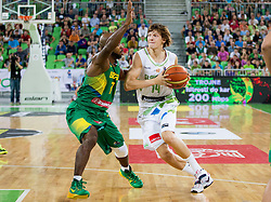 Larry Taylor JR of Brasil vs Jaka Klobucar of Slovenia during friendly basketball match between National Teams of Slovenia and Brasil at Day 2 of Telemach Tournament on August 22, 2014 in Arena Stozice, Ljubljana, Slovenia. Photo by Vid Ponikvar / Sportida