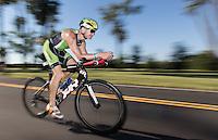 Omaha, Nebraska --<br /> <br /> Michael Hruska of Madison, Wisconsin, nears the finish line of the 40-kilometer bike portion of the Olympic-Distance National Championships triathlon at Levi Carter Park on Saturday, Aug. 13, 2016, in Omaha.<br /> <br /> MATT DIXON/THE WORLD-HERALD