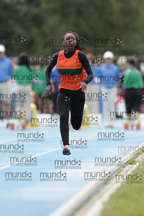 Seleena Wedderburn  competing in the 100m qualifying rounds at the 2007 OFSAA Ontario High School Track and Field Championships in Ottawa.