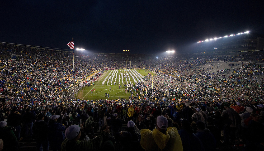 Nov. 13, 2010; The Notre Dame Fighting Irish students and players celebrate on the field after Notre Dame defeated the Utah Utes 28-3 at Notre Dame Stadium. ..Photo by Matt Cashore