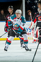 KELOWNA, CANADA - FEBRUARY 20:  Kyle Topping #24 of the Kelowna Rockets looks for the pass against the Prince George Cougars on February 20, 2018 at Prospera Place in Kelowna, British Columbia, Canada.  (Photo by Marissa Baecker/Shoot the Breeze)  *** Local Caption ***