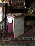 end table from grocery- painted pink 2ft tall top 10by 10<br />