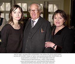 Left to right, actress EMILY MORTIMER, her father SIR JOHN MORTIMER winner of the 2001 Oldie of Tghe Year award and LADY MORTIMER, at a reception in London on 10th April 2001.	ONA 57