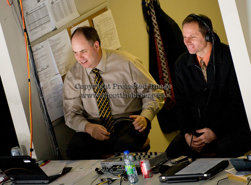 KELOWNA, CANADA, DECEMBER 2: Gord McGarva (l) and Regan Bartell, host Rockets radio on AM 1150 as the Victoria Royals visit the Kelowna Rockets  on December 2, 2011 at Prospera Place in Kelowna, British Columbia, Canada (Photo by Marissa Baecker/Shoot the Breeze) *** Local Caption ***