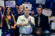 Peter Wright waiting for walk on during the William Hill World Darts Championship at Alexandra Palace, London, United Kingdom on 29 December 2016. Photo by Mark Davies.