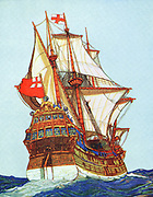 Tudor ships of the type used by privateers and explorers. Artist's impression; book illustration c1900.