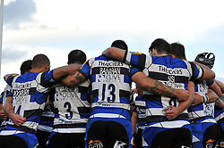 The Bath team huddle together at half-time - Photo mandatory by-line: Patrick Khachfe/JMP - Mobile: 07966 386802 01/11/2014 - SPORT - RUGBY UNION - Bath - The Recreation Ground - Bath Rugby v London Welsh - LV= Cup