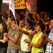 NLD/Baarn/20080515 - Finale Tros Twinzz 2008, Jan Smit met spandoek