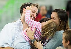 Sasa Zagorac of Union Olimpija with his wife and daughter after winning during basketball match between KK Union Olimpija Ljubljana and MZT Skopje Aerodrom in Round #1 of ABA League 2015/16, on October 1, 2015 in Arena Stozice, Ljubljana, Slovenia. Photo by Vid Ponikvar / Sportida
