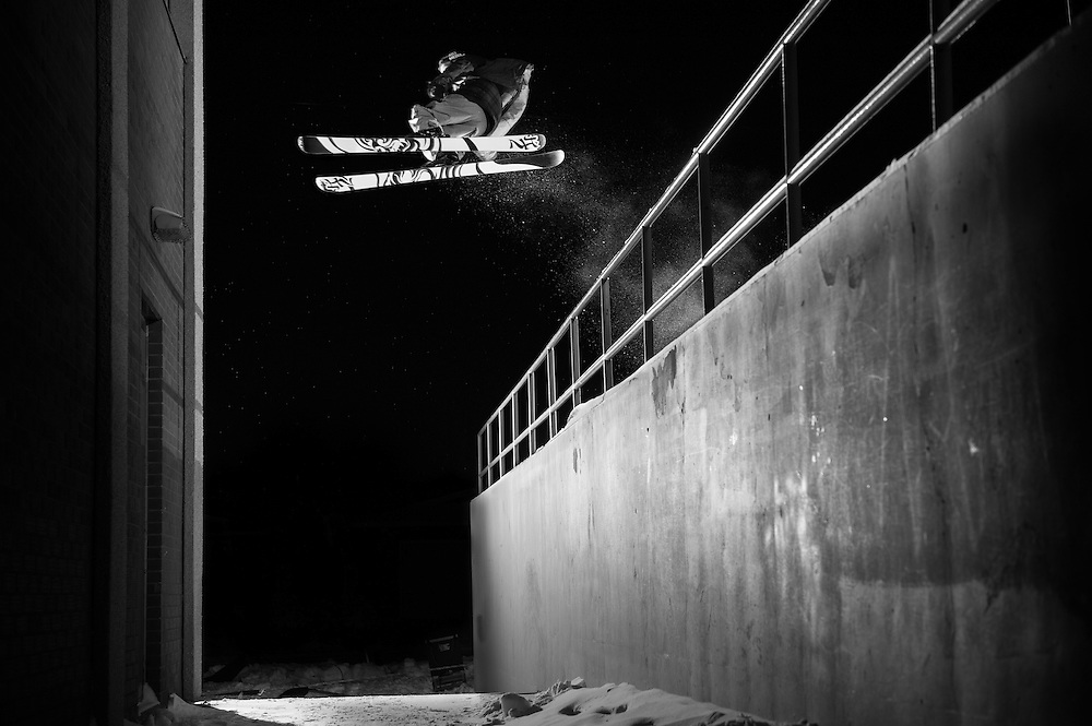 Ben Pollock gapping over a rail transfering to the backside of this wall. Calgary, AB