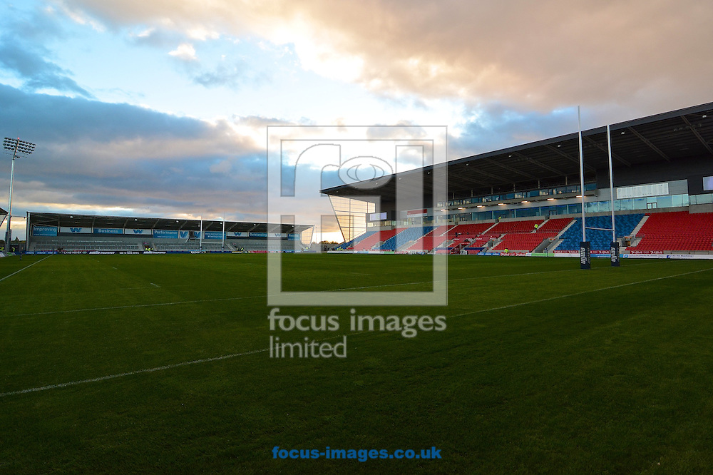 Picture by Ian Wadkins/Focus Images Ltd +44 7877 568959<br /> 10/10/2013<br /> General view of AJ Bell Stadium ahead of the Amlin Challenge Cup match at AJ Bell Stadium, Eccles.