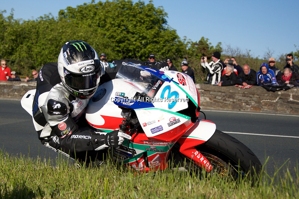 08.06.2015. Douglas, Isle of Man. 2015 Isle of Man TT Races. Michael Dunlop in action during the TT Supersport race.