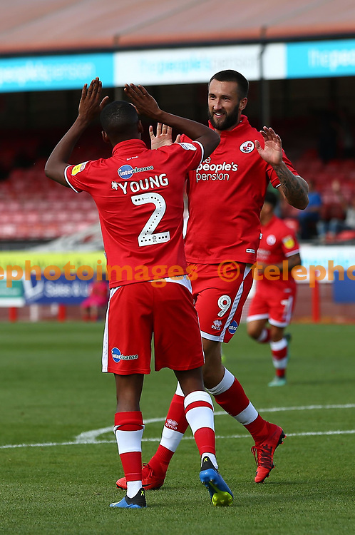 Crawley's Ollie Palmer celebrates scoring with Crawley's Lewis Young during the pre season friendly between Crawley Town and KSV Roeselare at The Broadfield Stadium, Crawley , UK. 28 July 2018.