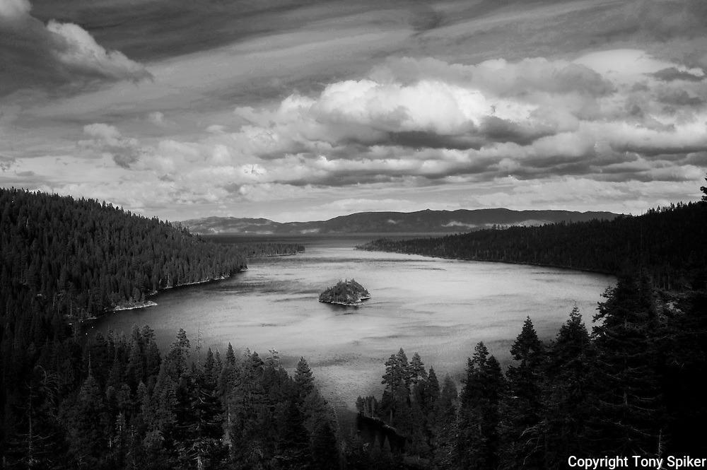 """Emerald Bay 1"" - A black and whtie photograph of storm clouds clearing over Emerald Bay, on the South Shore of Lake Tahoe"