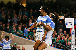 Argentina Outside Centre Matias Moroni celebrates scoring the first try - Mandatory byline: Rogan Thomson/JMP - 07966 386802 - 18/10/2015 - RUGBY UNION - Millennium Stadium - Cardiff, Wales - Ireland v Argentina - Rugby World Cup 2015 Quarter Finals.
