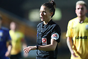 Referee Rebecca Welch during the Vanarama National League match between FC Halifax Town and Dover Athletic at the Shay, Halifax, United Kingdom on 17 November 2018.