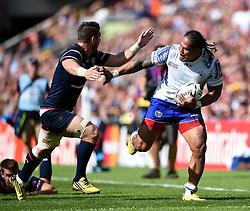 Alesana Tuilagi of Samoa takes on the USA defence - Mandatory byline: Patrick Khachfe/JMP - 07966 386802 - 20/09/2015 - RUGBY UNION - Brighton Community Stadium - Brighton, England - Samoa v USA - Rugby World Cup 2015 Pool B.