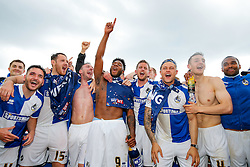 Bristol Rovers players celebrate after they win the match in injury time to secure 3rd place in League 2, back to back promotions and a place in Sky Bet League 1 for 2016/17 - Mandatory byline: Rogan Thomson/JMP - 08/03/2016 - FOOTBALL - Memorial Stadium - Bristol, England - Bristol Rovers v Dagenham & Redbridge - Sky Bet League 2.