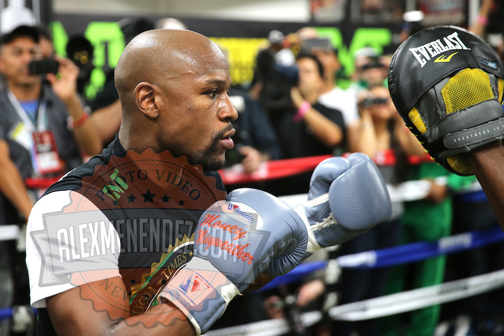 LAS VEGAS, NV - APRIL 14: WBC/WBA welterweight champion Floyd Mayweather Jr. (L) works out with his uncle Roger Mayweather at the Mayweather Boxing Club on April 14, 2015 in Las Vegas, Nevada. Mayweather Jr. will face WBO welterweight champion Manny Pacquiao in a unification bout on May 2, 2015 in Las Vegas.  (Photo by Alex Menendez/Getty Images) *** Local Caption *** Floyd Mayweather Jr., Roger Mayweather