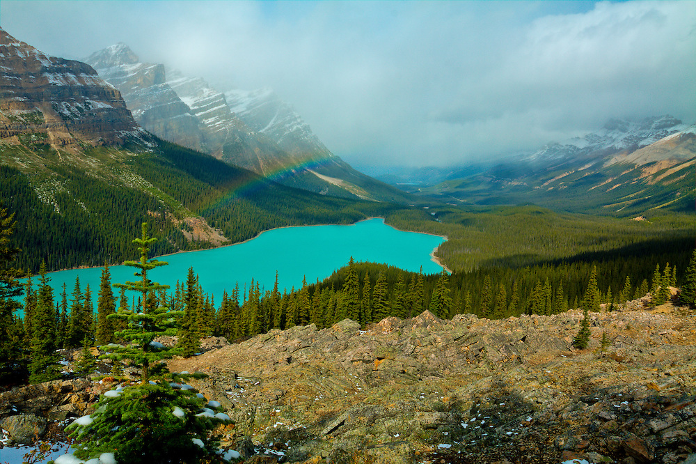 A rainbow hangs over Peyto Lake, Alberta, Canada