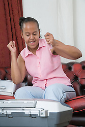 Young woman listening to music,