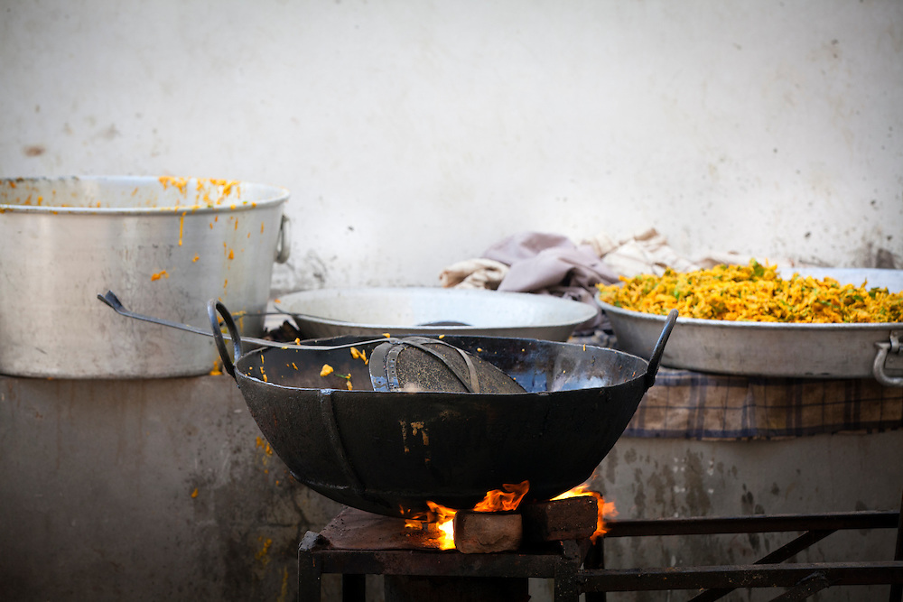 A large wok used to deep fry pakora at a Sikh kitchen.