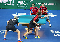 February 23, 2018 - London, England, United Kingdom - Maria TSAPTSINOS of England .during 2018 International Table Tennis Federation World Cup match between Mengyu YU of Singapore  and Tianwei FENG of Singapore against Kelly SIBLEY of England  and Maria TSAPTSINOS of England at Copper Box Arena, London  England on 23 Feb 2018. (Credit Image: © Kieran Galvin/NurPhoto via ZUMA Press)