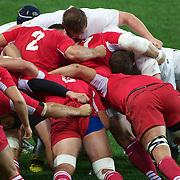 England captain Lewis Moody, (right) peers around the scrum during the England V Georgia Pool B match during the IRB Rugby World Cup tournament. Otago Stadium, Dunedin New Zealand, 18th September 2011. Photo Tim Clayton...