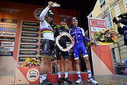 March 18, 2017 - San Remo, Italie - SAGAN Peter (SVK) Rider of Team Bora - Hansgrohe, KWIATKOWSKI Michal (POL) Rider of Team SKY and ALAPHILIPPE Julian (FRA) Rider of Quick-Step Floors Cycling team pictured during the podium ceremony after  the UCI WorldTour 108th Milan - Sanremo cycling race with start in Milan and finish at the Via Roma in Sanremo on March 18, 2017 in Sanremo, Italy, 18/03/2017 (Credit Image: © Panoramic via ZUMA Press)