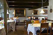 Sonderho Kro Hotel and Restaurant with quaint tables and chairs furniture, Fano Island, South Jutland, Denmark
