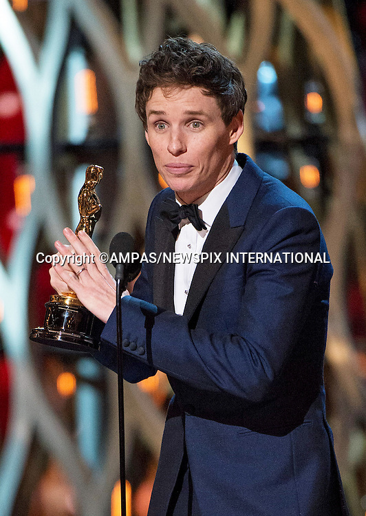 22.02.2015; Hollywood, California: 87TH OSCARS - EDDIE REDMAYNE<br /> <br /> Annual Academy Awards Telecast, Dolby Theatre, Hollywood.<br /> Mandatory Photo Credit: NEWSPIX INTERNATIONAL<br /> <br />               **ALL FEES PAYABLE TO: &quot;NEWSPIX INTERNATIONAL&quot;**<br /> <br /> PHOTO CREDIT MANDATORY!!: NEWSPIX INTERNATIONAL(Failure to credit will incur a surcharge of 100% of reproduction fees)<br /> <br /> IMMEDIATE CONFIRMATION OF USAGE REQUIRED:<br /> Newspix International, 31 Chinnery Hill, Bishop's Stortford, ENGLAND CM23 3PS<br /> Tel:+441279 324672  ; Fax: +441279656877<br /> Mobile:  0777568 1153<br /> e-mail: info@newspixinternational.co.uk
