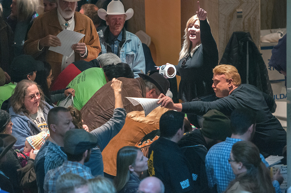 em021317d/a/Jackie and Frank Sanoval, center, from Albuquerque, help run a casting call for Longmire at the Roundhouse. This was part of Film Day at the New Mexico Legislature at the State Capitol in Santa Fe, Monday February 13, 2017. The Sandoval's run Breaking Bad RV Tours.  (Eddie Moore/Albuquerque Journal