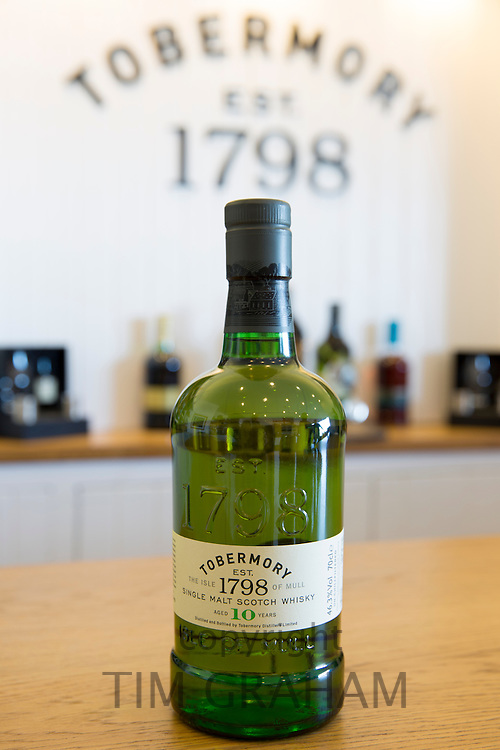 Scotch single malt whisky 10-year-old Tobermory in gift shop at Tobermory Distillery on the Isle of Mull in Western Isles of Scotland