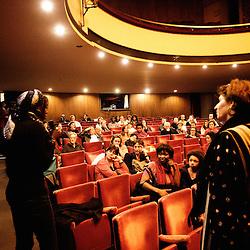 Introduction d'Angele Diabang-Brener par Carin Leclerq au theatre Moliere. Festival des cinemas Africains a Ixelles, près de Bruxelles. 3 mars 2009. Photo : Antoine Doyen