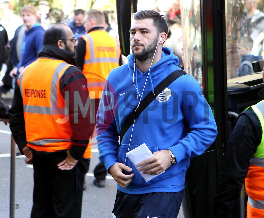 Queens Park Rangers's Charlie Austin arrives - Photo mandatory by-line: Robbie Stephenson/JMP - Mobile: 07966 386802 - 12/04/2015 - SPORT - Football - London - Loftus Road - Queens Park Rangers v Chelsea - Barclays Premier League