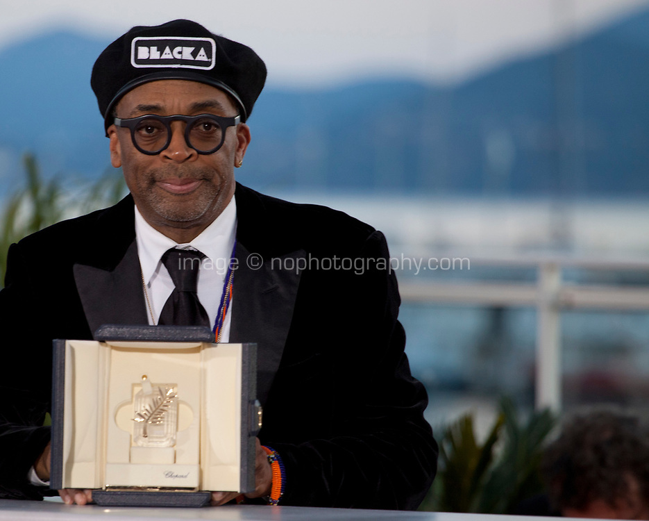 Director Spike Lee winner of the Grand Prix award for the film BlacKkKlansman at the Award Winner's photo call at the 71st Cannes Film Festival, Saturday 19th May 2018, Cannes, France. Photo credit: Doreen Kennedy