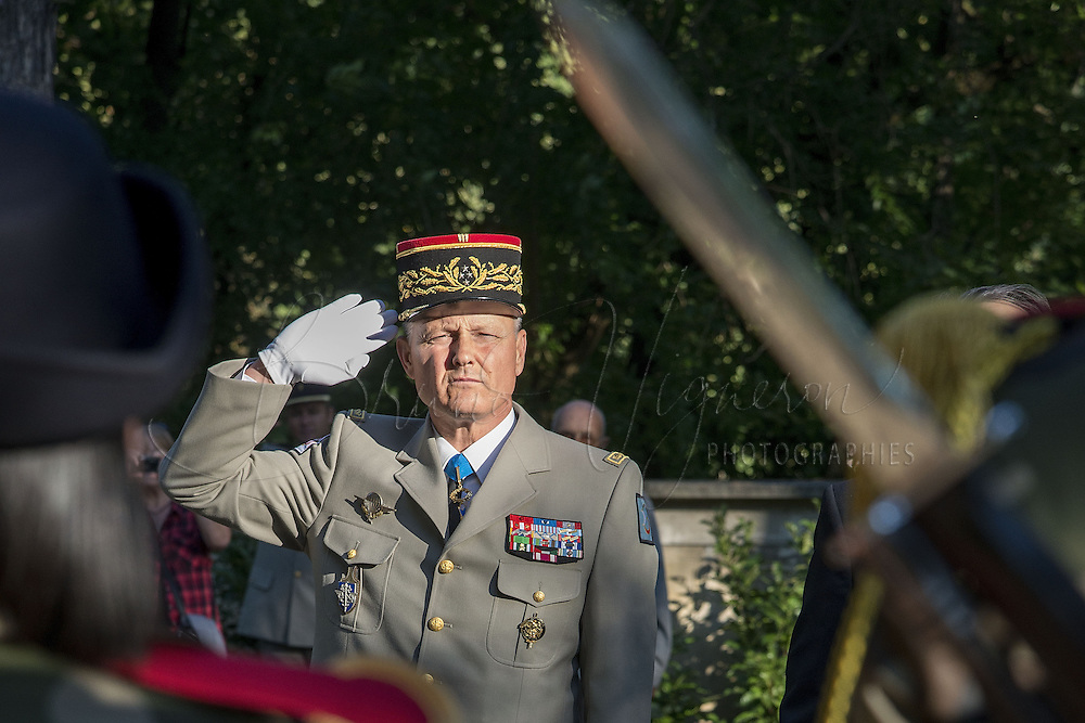 LYON, FRANCE - SEPTEMBER 01: General Pierre Chavancy, new Military Governor of Lyon, attends a ceremony to mark the 70th anniversary of the liberation of Lyon, on September 1, 2014 in Lyon, France. (Photo by Bruno Vigneron/Getty Images)