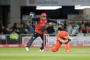 Lancashires Danny Lamb tries to ramp the ball during the Vitality T20 Blast North Group match between Lancashire Lightning and Durham Jets at the Emirates, Old Trafford, Manchester, United Kingdom on 7 August 2018.