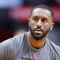 22 November 2015:  Toronto Raptors forward Patrick Patterson (54) warms up prior to the Toronto Raptors 91-80 victory over the Los Angeles Clippers, at the Staples Center, Los Angeles, California, USA.