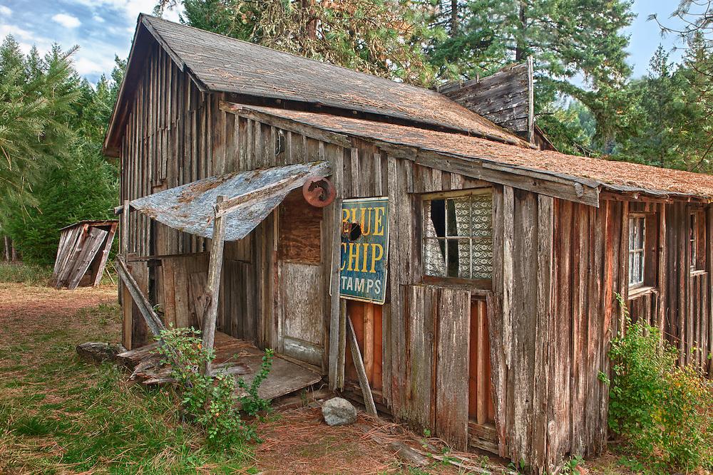 Leaning Wooden Shack Rear Porch - Golden, Oregon - HDR