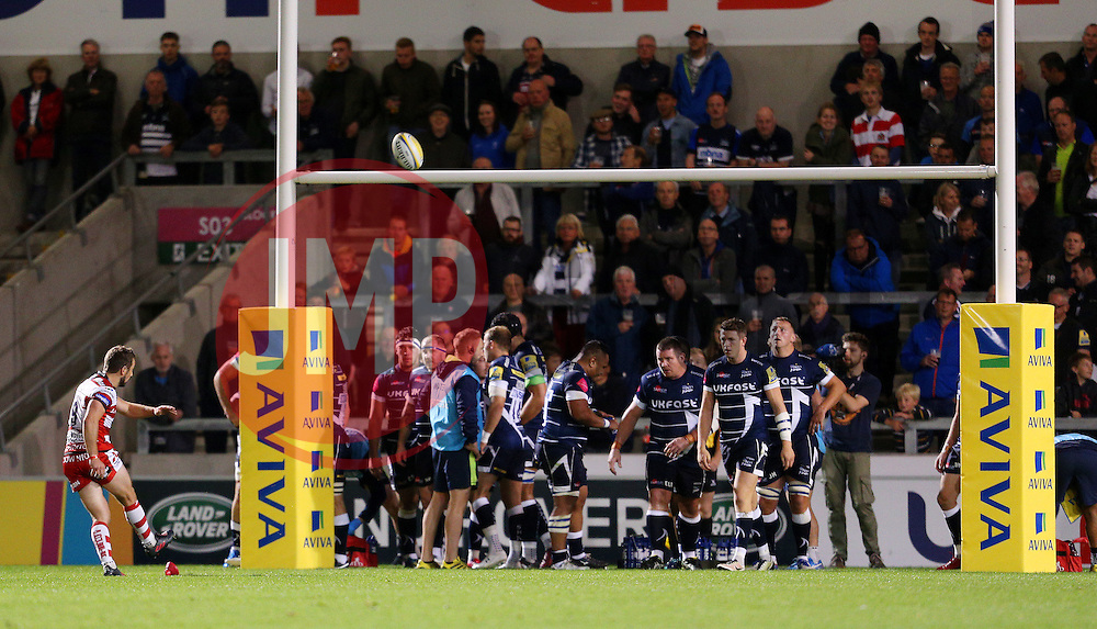 Matt Scott of Gloucester Rugby scores a conversion - Mandatory by-line: Matt McNulty/JMP - 16/09/2016 - RUGBY - Heywood Road Stadium - Sale, England - Sale Sharks v Gloucester Rugby - Aviva Premiership