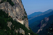 Sumela a 1600 year old Greek Orthodox Monastery perched high on the cliffs of the Black Sea Mountains in the Trabzon region of eastern Turkey. On 15 August 2010, with the permission of Turkish Government, an Orthodox Mass was held for the first time at Sumela monastery since 1923.