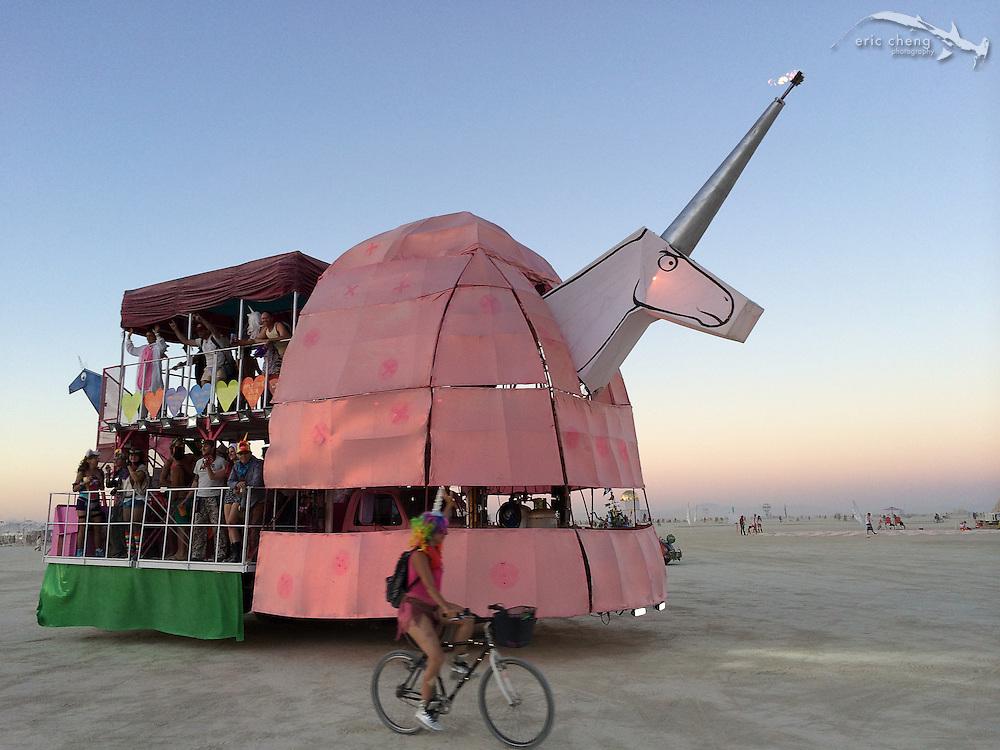 Unicorn art car. Burning Man 2014.