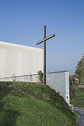 A cross outside the new church of the hospital.