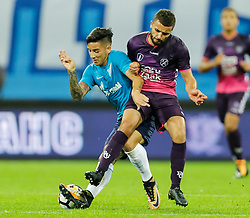 August 24, 2017 - Saint Petersburg, Russia - Sebastian Driussi (L) of FC Zenit Saint Petersburg and Zakaria Labyad of FC Utrecht vie for the ball during the UEFA Europa League play-off round second leg match between FC Zenit St. Petersburg and FC Utrecht at Saint Petersburg Stadium on August 24, 2017 in Saint Petersburg, Russia. (Credit Image: © Mike Kireev/NurPhoto via ZUMA Press)
