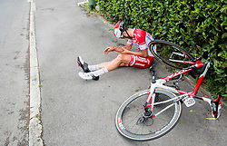 Vigano Davide (Italy) of Androni Giocattoli - Sidermec injured during Stage 1 of 23rd Tour of Slovenia 2016 / Tour de Slovenie from Ljubljana to Koper/Capodistria (177,8 km) cycling race on June 16, 2016 in Slovenia. Photo by Vid Ponikvar / Sportida